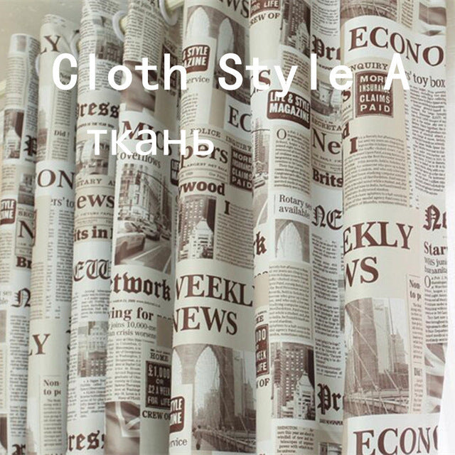 Newspaper Printed Drapes blackout curtains