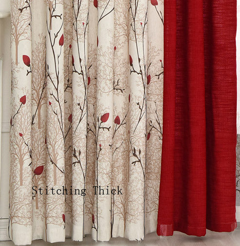 {Byetee} Beige Red Stitching Cotton Linen Curtain Window Curtains For Living Room Luxury Pastoral Kitchen Roman Curtains