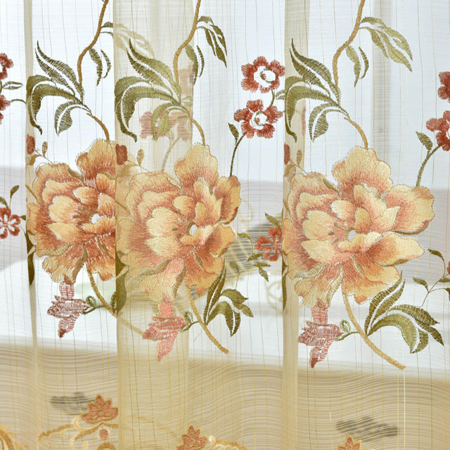 Pastoral Embroidered Curtains For living Room Bedroom Floral Blackout Curtains Window Treatment  drapes Home Decor P321Z30