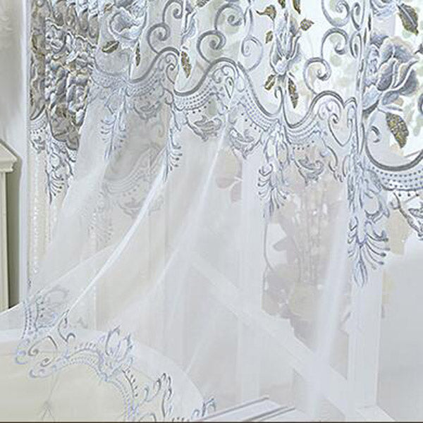 European luxury hollow soluble embroidery window screens curtains
