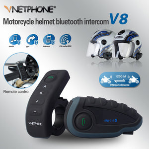 VNETPHONE Helmet Headset Motorcycle Intercom 1200m Helmet Bluetooth Interphone full-duplex 5 people at the same time intercom V8