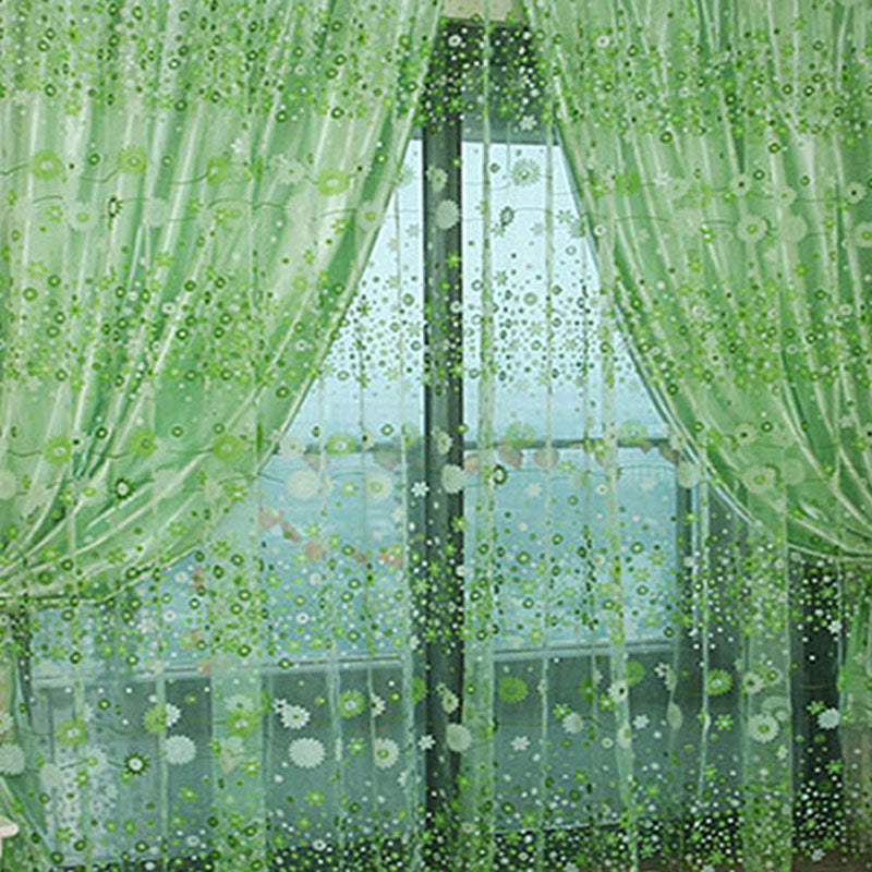 Chic Floral Pattern Candy Color Curtain