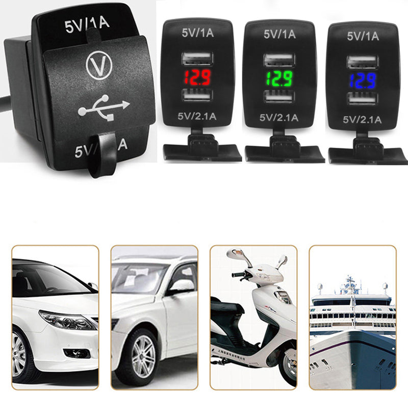 12V/24V 3.1A Car Motorcycle Dual USB LED Charger Socket Voltage Voltmeter Panel #G205M# Best Quality - Trivoshop.com