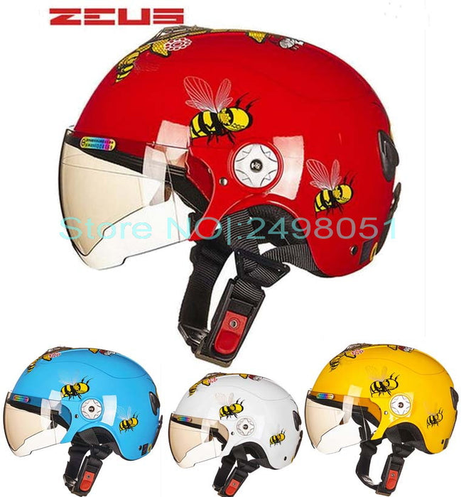 Newest ZEUS children motorcycle helmet child ABS half face Motorbike electric bicycles for Bee pattern 4 colors size S M - Trivoshop