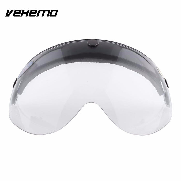 Vehemo Clear Universal Pilot-Style Motorcycle Helmet 3-Snap Visor Shield Down - Trivoshop