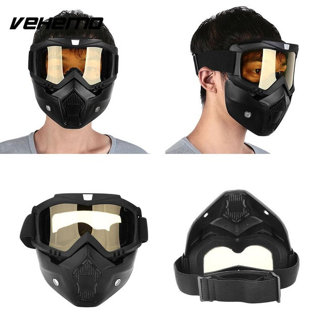 Vehemo Modular Detachable Goggles And Mouth Filter Open Face Motorcycle Half Helmet - Trivoshop