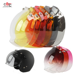 free shipping capacete casco 3 snap bubble shield visor vintage retro motorcycle helmet shield glass open face helemt visor