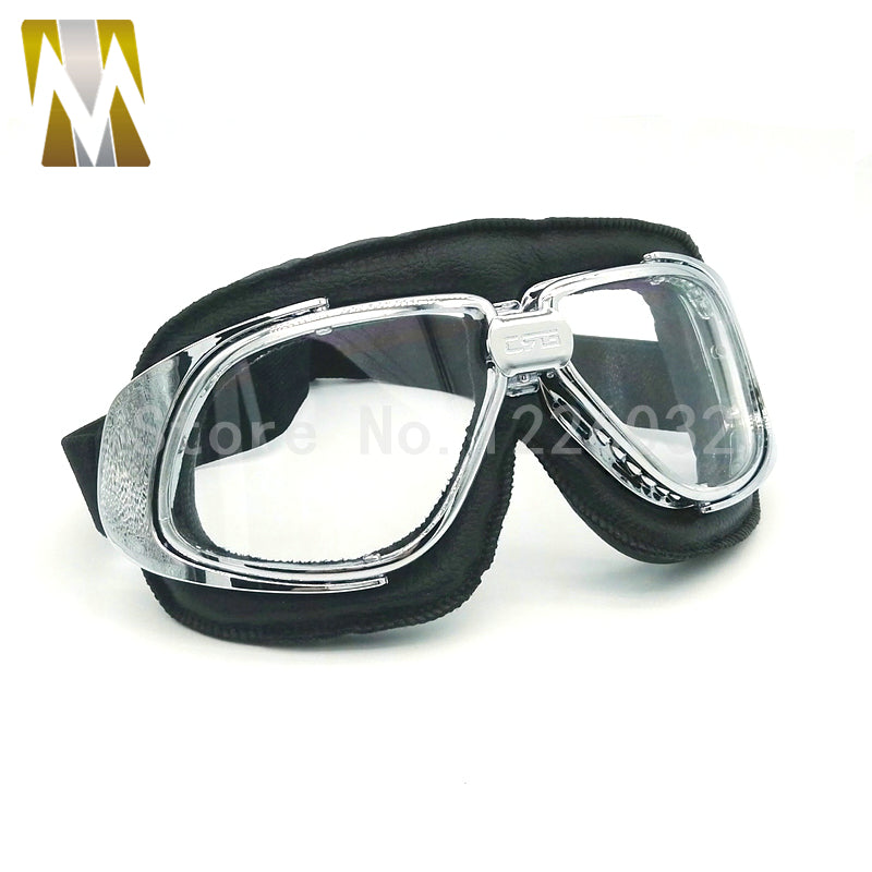 MOTORCYCLE GOGGLES  STEAMPUNK HALF MOTORCYCLE HELMET FLIGHT EYEWEAR GLASSES HELMET GOGGLES BIKER GOGGLE SMOKED LENSES - Trivoshop