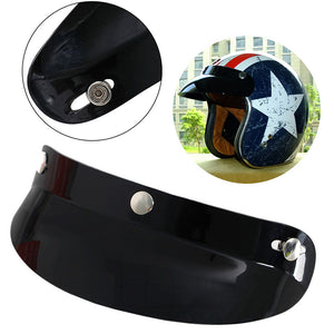 Universal Black 3 Snap Visor Face Shield Lens For Motorcycle Helmets Open Face