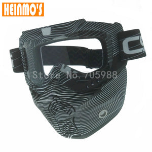 New Camouflage Style Detachable Modular Motorcycle Riding Helmet Goggles Shield Nose Face Mask For Moto Helmets Glasses