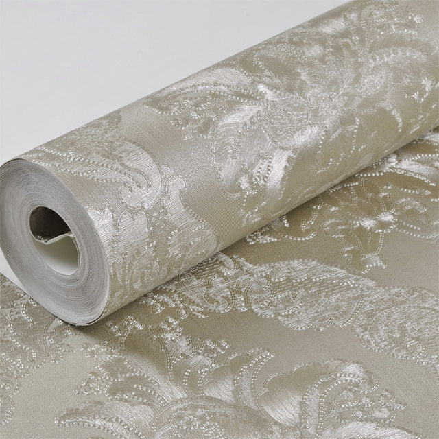 Metallic Gold Damask Silk Wallpaper Modern Luxury Vinyl Wall Paper Roll Shimmer Metal Texture Bedroom Living room Wallcovering
