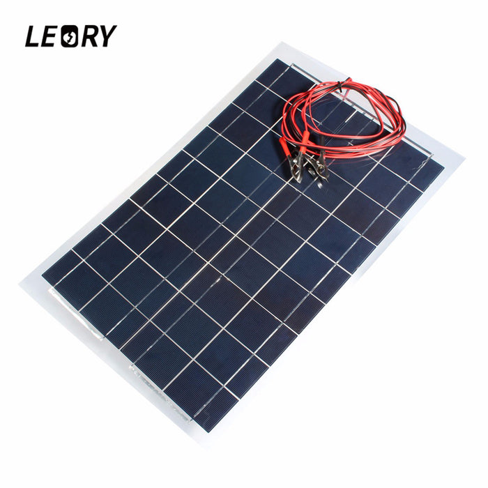 LEORY Hot 18V 30W 540x350mm PolyCrystalline Solar Cells Solar Panel With 3m Alligator Clip Wire Battery Charger Multipurpose
