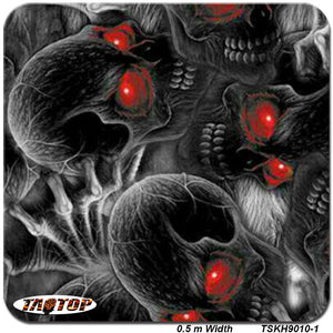 TSKR9010-1 popular pattern BLACK skull with red eyes Hydrographic Film  PVA Water Transfer Printing Film