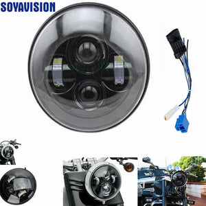 1 PCS Black 40w Headlight Motorcycle led headlamp 7'' Motorcycle Black Projector Daymaker LED Light Bulb Headlight for Harley - Trivoshop.com