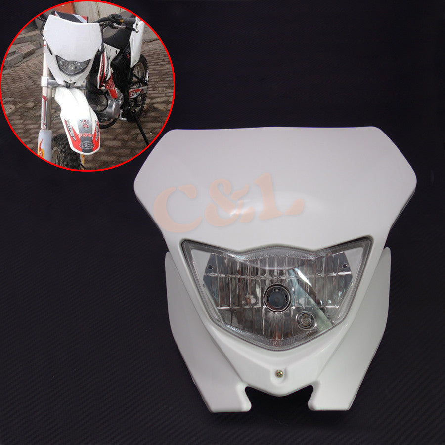 White H4 Plastic Front Headlight Fairing For Dual Sport Dirtbike Off Road Motocross Street Supermoto - Trivoshop