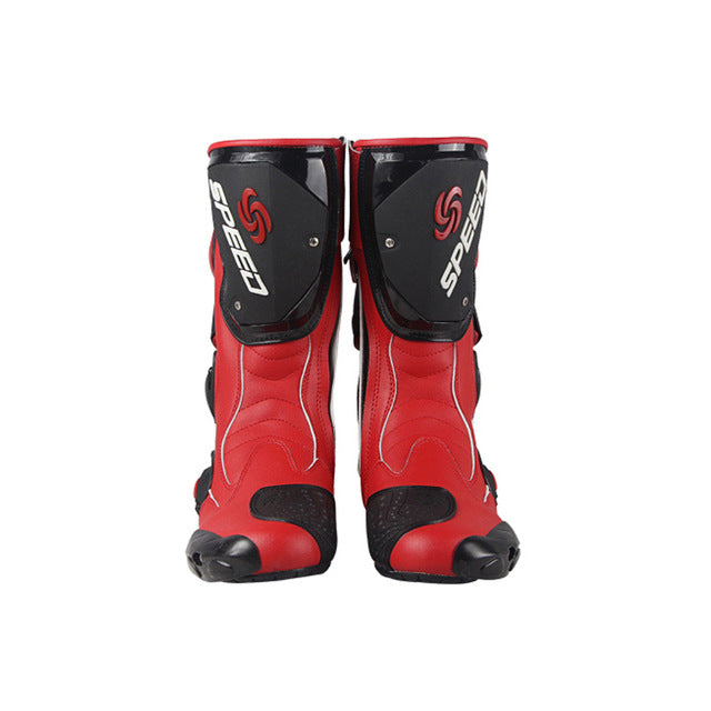 HOT Riding Rribe Motorcycle Boots SPEED Moto Racing Motocross Motorbike Shoes Black/White/Red Size 40/41/42/43/44/45 - Trivoshop