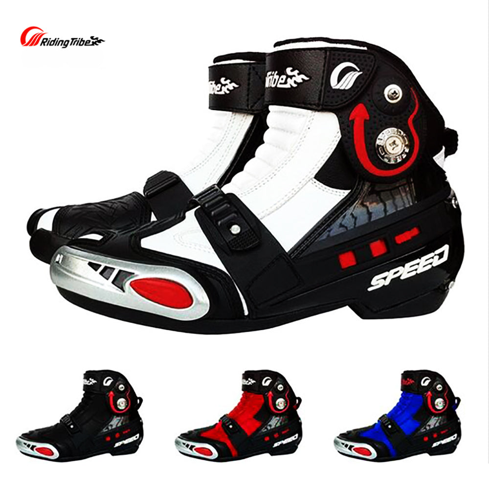 Motorcycle Botas moto Boot Off-Road Shoes Breathable Riding Protective Gear Boots RED/WHITE/BLUE - Trivoshop