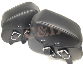 New Mini Black Durable Motorcycle Motorbike PU Leather Motorcycle Saddlebags Saddle Bags Pouch Fit for Mini Harley Moto