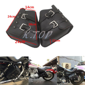 New Motorcycle Black Saddlebags Saddle Bags Faux Leather PVC Luggage Bag For Harley Sportster XL 883 1200