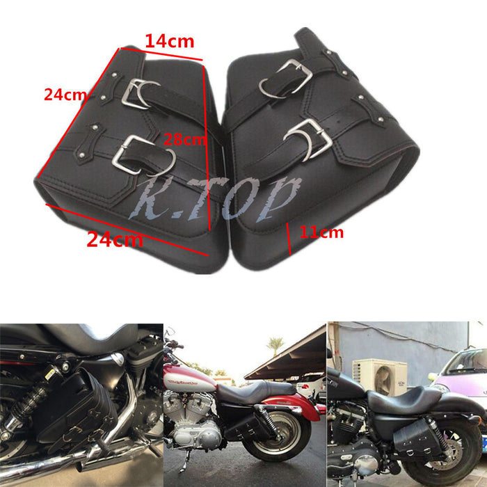 New Motorcycle Black Saddlebags Saddle Bags Faux Leather PVC Luggage Bag For Harley Sportster XL 883 1200 - Trivoshop
