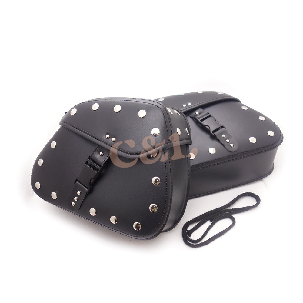 Universal Black PU Leather Luggage Bags Saddlebags Saddle Bags Pouch Fit for Harley Honda Yamaha
