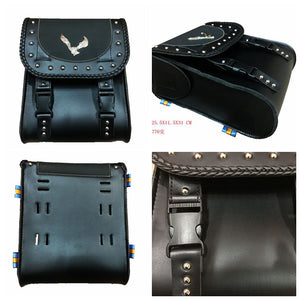 Universal PU Leather Saddle Bag Motorcycle Dual Sports Offroad Tool Kit Tail For Honda Kawasaki Suzuki Yamaha