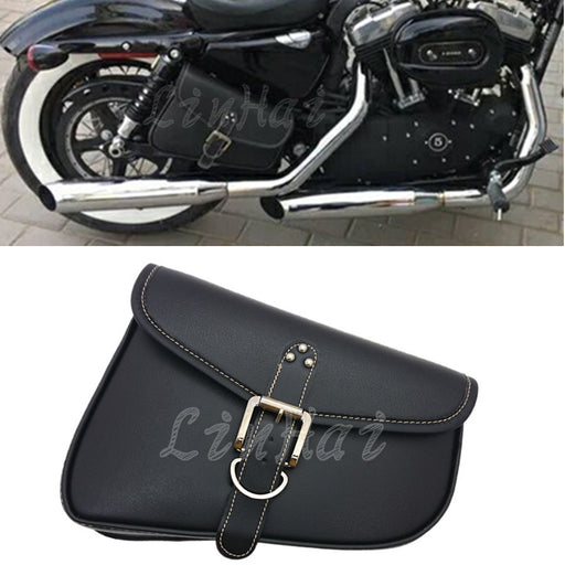 New Black Motorcycle PU Leather Saddlebag Saddle Bag Luggage Bag Fit For Harley Sportster XL 883 Hugger Sportster