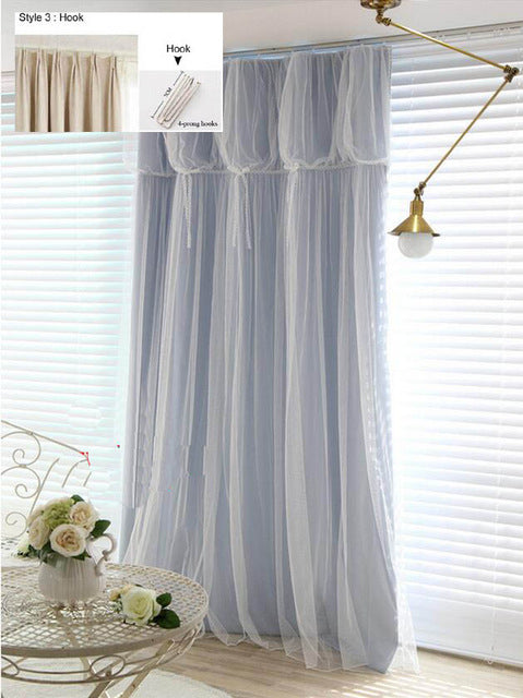Torino Tassels Lanterns Head Thermal Curtain Ivory Color Cloth Curtain+Voile Sheer Black Out Fabric Bedroom Custom Living Window