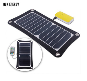 GGX ENERGY 6.5 Watt Portable Solar Cell Panel Charger for Hiking Camping Portable Solar Phone Charger High Efficiency
