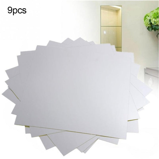 Square Mirror Paster Big Mosaic Back Glue Decorative Mirror Sticker