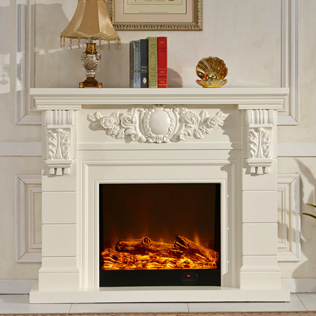 wooden fireplace mantel W140cm with electric fireplace insert living room heater decor LED artificial flame decoration