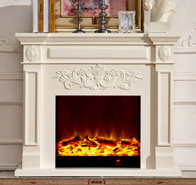 wood fireplace mantel W130cm with electric fireplace insert warm air blower room heater artificial LED optical flame decoration - Trivoshop