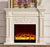wood fireplace mantel W130cm with electric fireplace insert warm air blower room heater artificial LED optical flame decoration