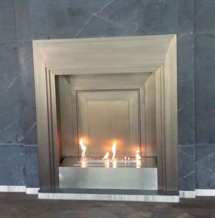 Intellgent silver ethanol wall mount electric fireplace