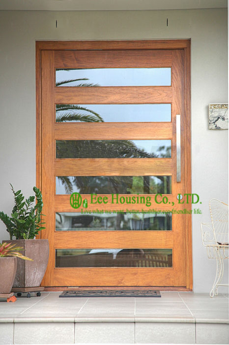 Wood pivot hinge doors, 6mm clear glass entry door for sale
