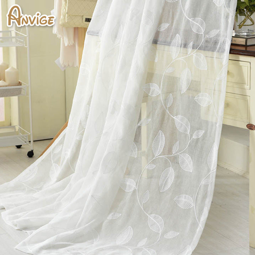 New Arrival White Tulle Cotton Linen Fabric Sheer Curtains Embroidered Voile Window Treatment Transparent Window Screening Panel