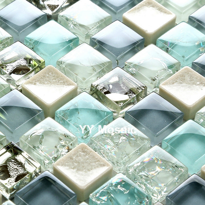 Mediterranean Blue White Gray Crystal Glass Mosaic Tile DIY Kitchen backsplash Bath shower wall sticker TV fireplace background