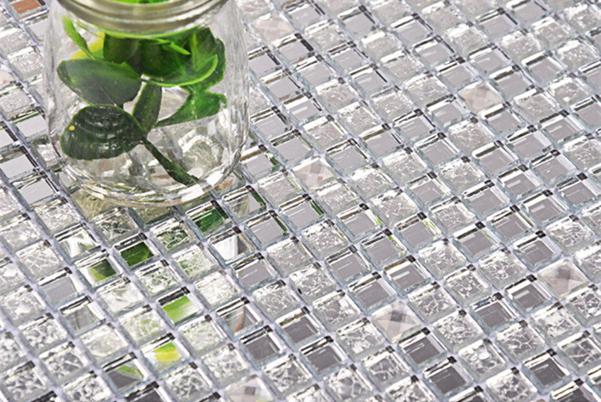 13 beveled Silver crystal mirror glass mosaic tiles kitchen backsplash bathroom shower hallway showroom cabinet decorate wall - Trivoshop.com
