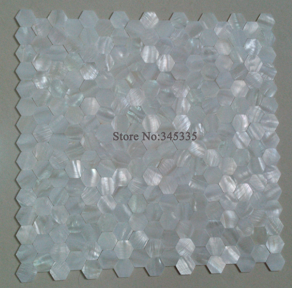 11 square feet New groutless white hexagon shell mosaic tile mother of pearl kitchen bathroom wallpape floor wall mosaics tiles - Trivoshop.com