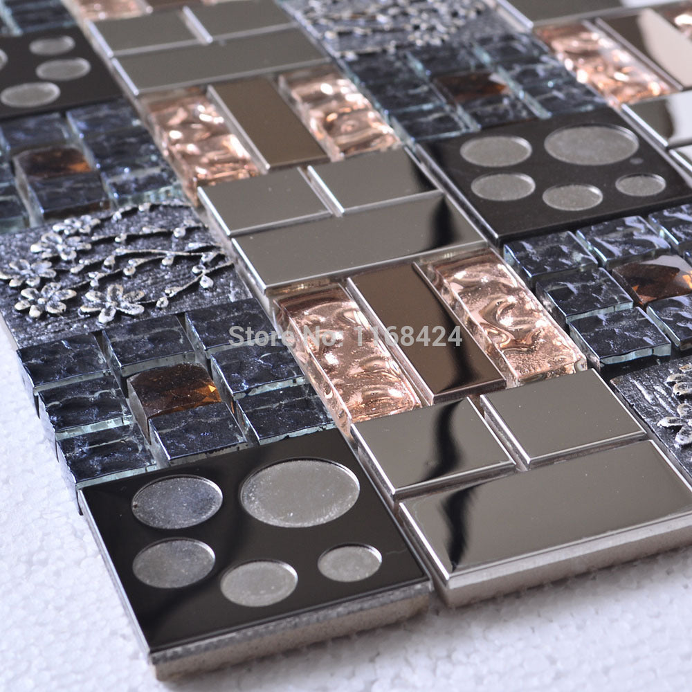 metal plating crystal glass mosaic tiles EHM1054 for kitchen baclesksplash tile bathroom shower wall floor mosaic tiles
