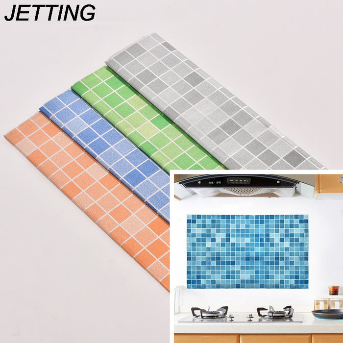 JETTING 1PCS 45x70cm Kitchen Mosaic Tile Stickers For Wall Decal PVC Wall Sticker Bathroom Waterproof Self adhesive Wallpaper
