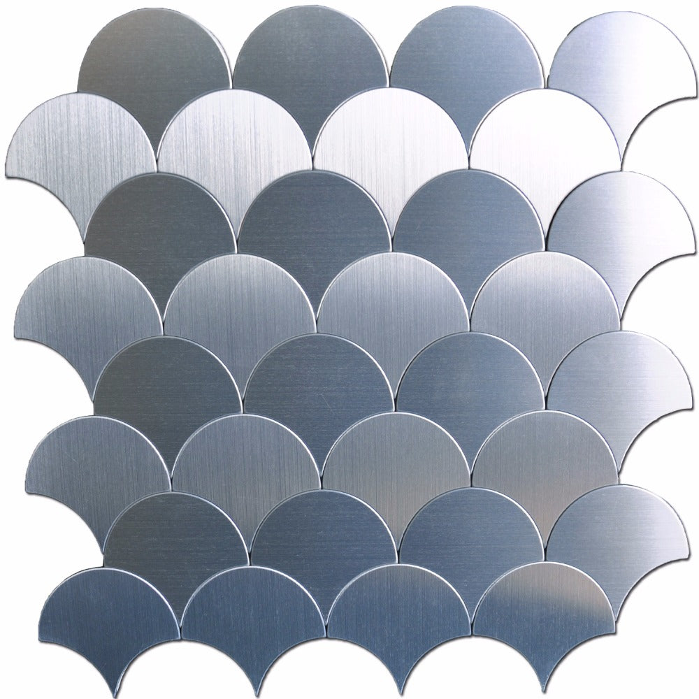 10 Sheets Peel and Stick Backsplashes Tiles Fan-shaped Metal Mosaic Tile 12x12In - Trivoshop.com