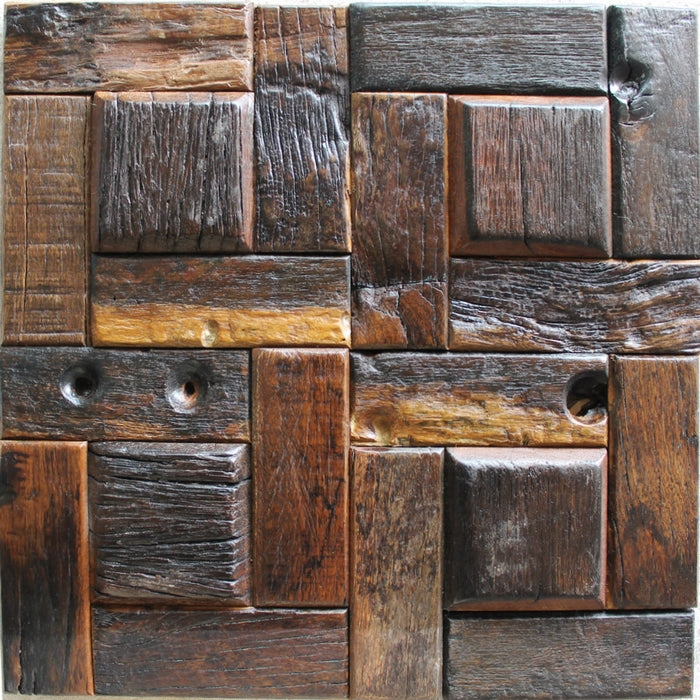 3D strip rustic old wood mosaic tile