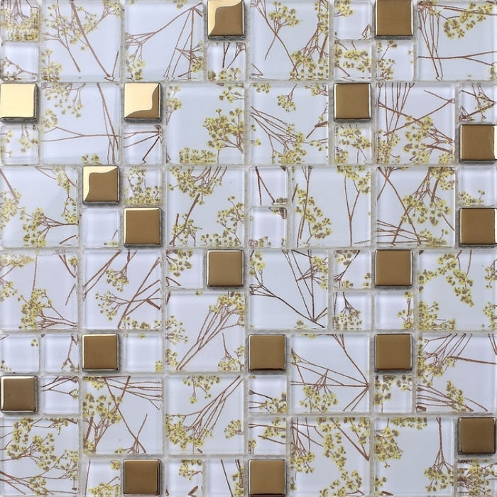 mixed golden mosaic tiles