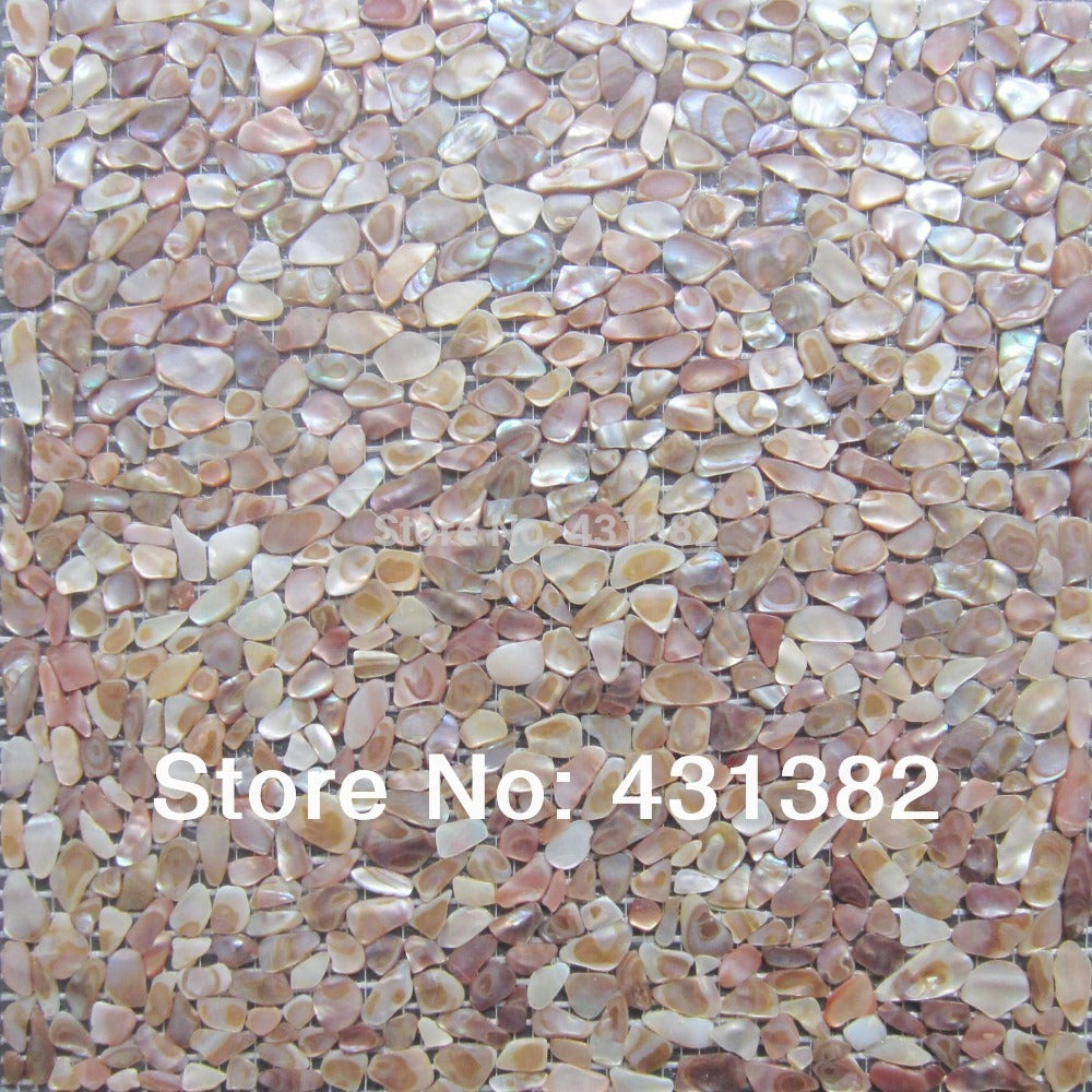 Natural Mother of pearl shell mosaic tile, irregular shape on mesh, natural colour  sea flower shell
