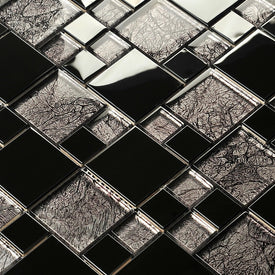 silver mirror metal crystal glass mosaic tile kitchen backsplash TV background wall tile puzzle bathroom shower fireplace decor