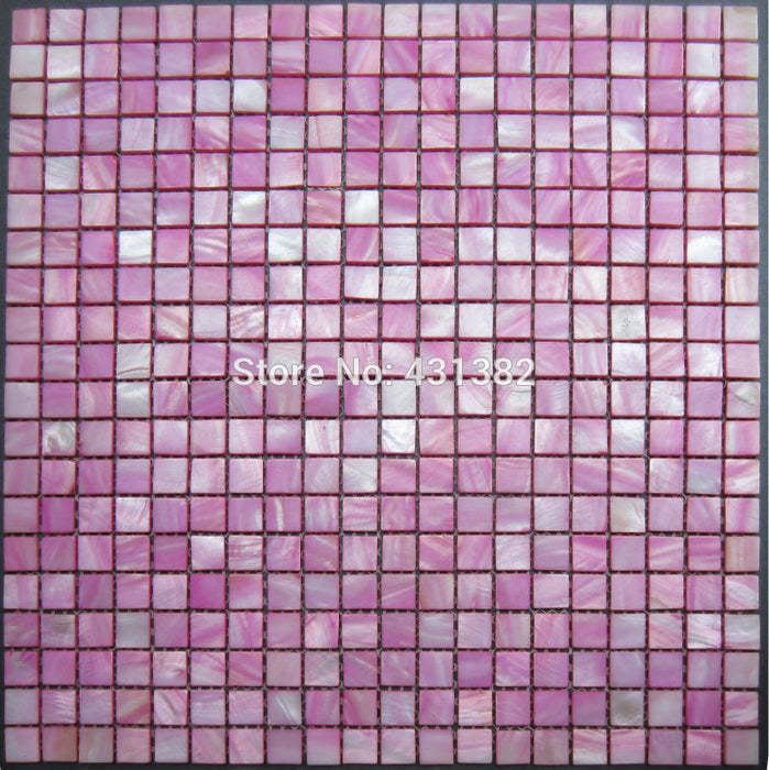 New style HYRX  15*15*2 shell mosaic tile-mother of pearl mosaic tiles; dye pink color Special offer;kitchen backsplash tiles
