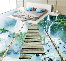 waterfall adventure rope wooden bridge 3d stereoscopic floor wallpaper