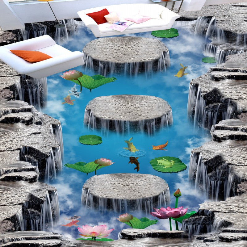 Free shipping flooring custom living room self-adhesive photo wallpaper Wonderland lotus pool 3D floor thickened painting flower