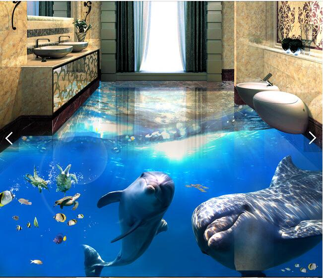 beautiful sea world dolphin floor wallpaper